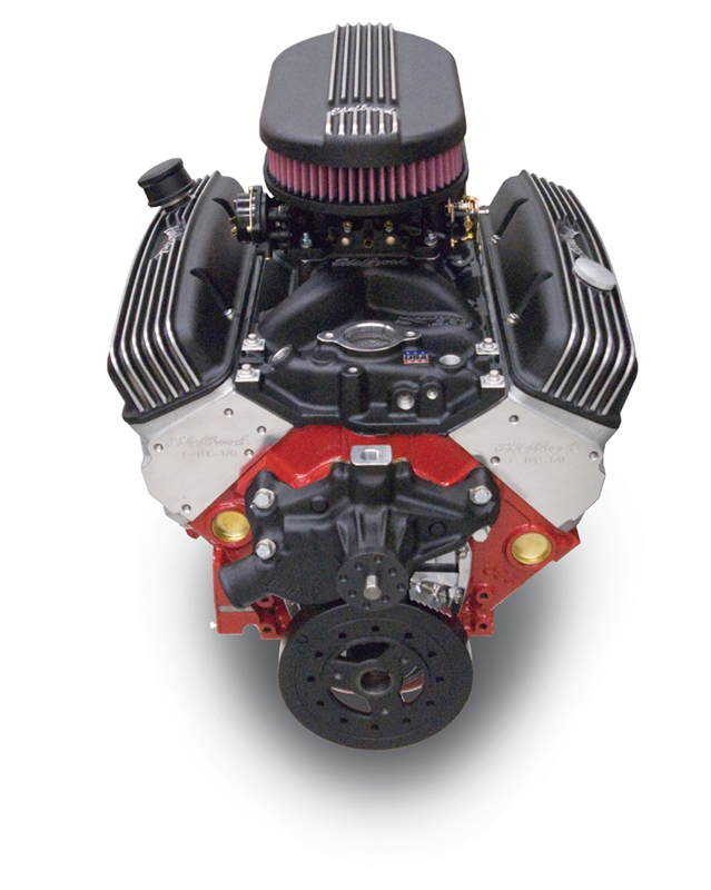 EDELBROCK PERFORMER 8 5:1 - (310 HP & 375 TQ) CRATE ENGINE WITH LONG WATER  PUMP #88113 - BLACK FINISH- 45123
