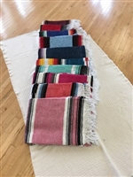 Handwoven Mexican Yoga Blanket, striped