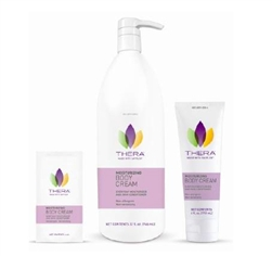 Thera Moisturizing Body Cream 4 ounce tube, 32 oz pump Bottle, and 4 Ml Packet