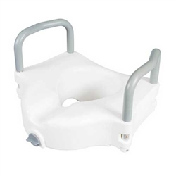 "Carex Classic 4-1/2"" Raised Toilet Seat with Armrests - 300-lbs Weight Capacity"