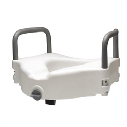 "Lumex 4"" Locking Raised Toilet Seat with Removable Arms - 300-lbs Weight Capacity"