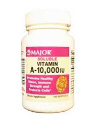 Major Pharmaceuticals Vitamin A 10000 IU Softgels Bottle of 100