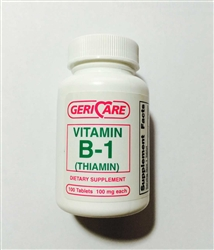 Geri Care Vitamin B-1 100 mg Tablets - Bottle of 100