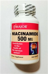 Major Pharmaceuticals Niacinamide 500 mg Tablets Bottle of 100