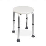 Shower Stool Round Seat White plastic seat with aluminum frame