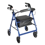 Aluminum four wheeled Rollator walker with blue colored aluminum frame