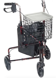 Deluxe Red 3 Wheel Rollator by Drive Medical