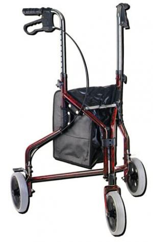 Rollator 3-Wheeled w  Pouch Loop Brk Flame Red 10218FRD-1