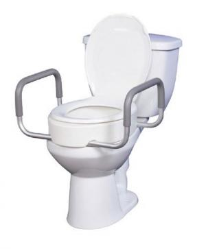 Elevated Toilet Seat w Arms For Elongated Toilet Seats T F