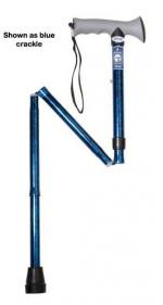 Folding Cane Alum w Gel Grip Blue Crackle