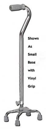 Quad Cane Small Base Chrome w Foam Grip