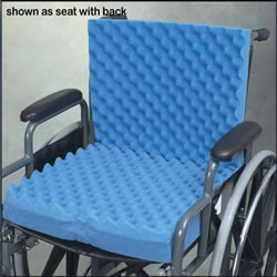 Convoluted Wheelchair Cushion w Back & Blue Polycotton Cover