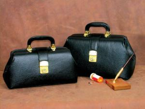 Intern Student Physician Bag 16  Black Leather