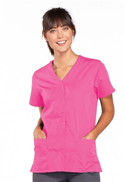 Cherokee Workwear Women's Snap Front Top