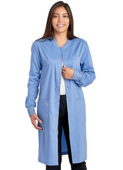 "Cherokee Revolution Tech Unisex 40"" Antimicrobial Snap Front Lab Coat #WW350AB"