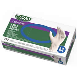 CURAD Powder-Free Textured Latex Exam Gloves 100/Case