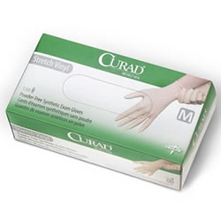 CURAD Stretch Vinyl Exam Gloves-1,500/Case