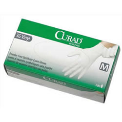 CURAD Powder-Free Latex-Free 3G Vinyl Exam Gloves 100/Box
