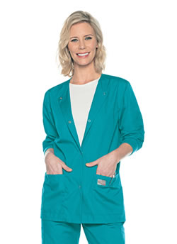 ScrubZone Women's 3 Pocket Jacket With Knit Cuffs #70227