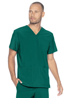 Urbane Performance Men's V-Neck Tops with Knit Panels #9152
