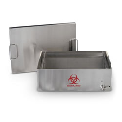 "Transport Containers - With lid, biohazard label, spigot, 12"" x 12"" x 5.5"""