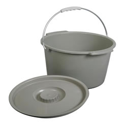 Universal Fit Commode Bucket with Lid and Handle  Qty. 6
