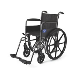 "Excel K1 Basic Wheelchair: 18"" Permanent full-length arms, swing-away detachable footrests"