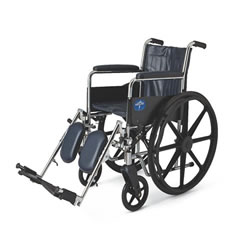 Excel Narrow Wheelchair: Permanent Full-Length Arms, Swing-Away Detachable Footrests