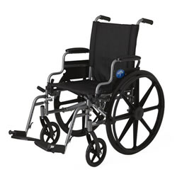 Excel K4 Basic Wheelchair  18  Desk-length arms  swing-away detachable footrests