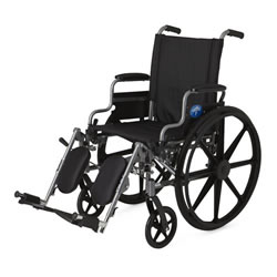 Excel K4 Basic Wheelchair  18  Desk-length arms  swing-away detachable elevating legrests