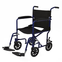 Excel Aluminum Transport Wheelchair  Blue
