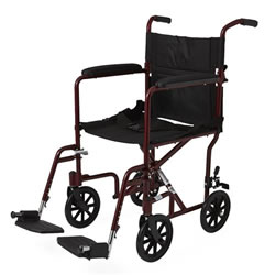 Excel Aluminum Transport Wheelchair  Red