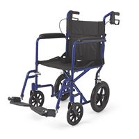 Deluxe Aluminum Transport Wheelchair  Blue