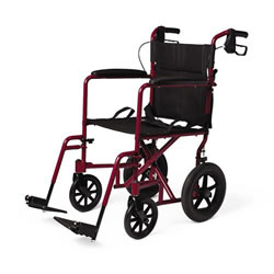 Deluxe Aluminum Transport Wheelchair  Red