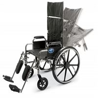 Excel Reclining Wheelchairs  16  Reclining Wheelchair with Elevating  Swing-Away Footrests w Anti-Tippers 250 lb. capacity