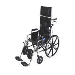 Excel Reclining Wheelchairs  18  Reclining Wheelchair with Elevating  Swing-Away Footrests w Anti-Tippers 300 lb. capacity