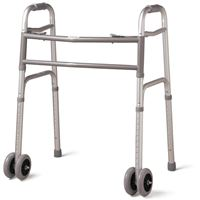 Deluxe Bariatric Walker - Extra-Wide Two-Button Walker With Dual 5  Wheels