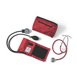 Compli-Mates Dual-Head Stethoscope & Aneroid Sphyg  Red