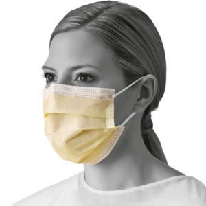 Basic Isolation Mask With Ear Loops  Yellow  300 Each   Case_1