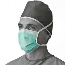 Adhesive Tape Anti-Fog Mask With Ties  Green  Latex-Free  300   Case
