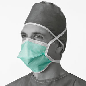 Chamber-Style Surgical Mask  With Ties  Green  300 Each   Case