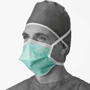 Chamber-Style Surgical Mask  With Ties  Green  50 Each   box