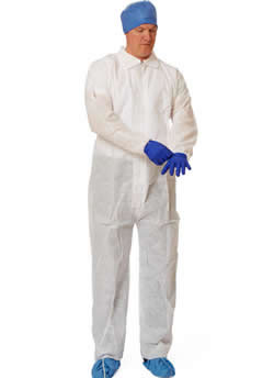 Classic SMS Coveralls Elastic Wrists and Straight Ankles  White