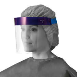 Medline 3/4 Length Disposable Face Shields with Foam Top and Elastic Band