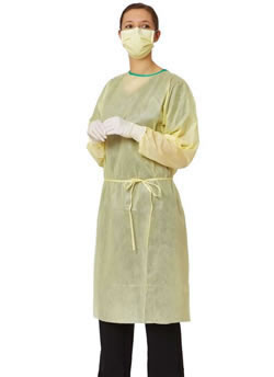 Classic Medium Weight Isolation Gowns  4-Ply Polypropylene  Yellow