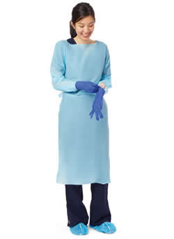 Disposable Fluid-Resistant Polyethylene Film Heavyweight Gowns-NONTH150