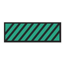 Identification Sheet Tape - Green black diagonal stripe  1 4