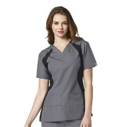 WonderWink Origins Women's Knit Panel V-Neck Scrub Tops #6096