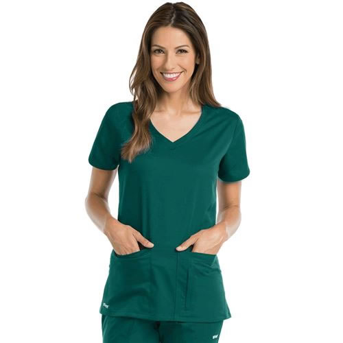 7fb0a936a4d Grey's Anatomy Active V-Neck Top with Side Panels #41423