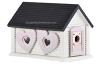 Sweetheart Cabin Birdhouse | Cedar | Handcrafted by Boulder Bay Birdhouse | Made in USA